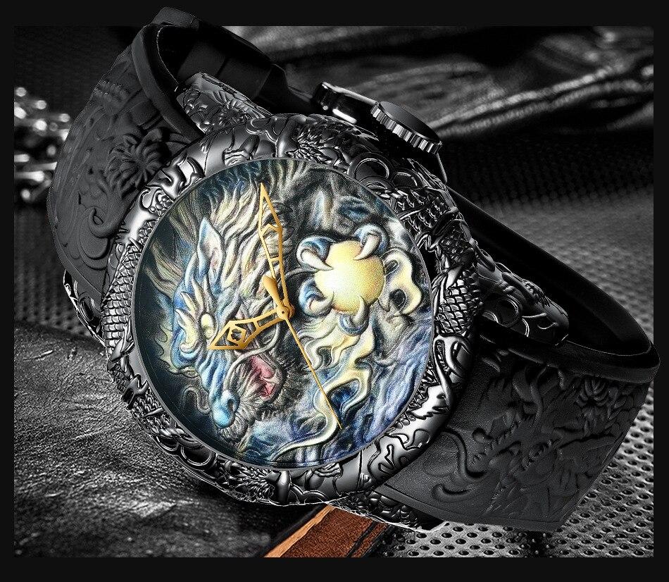 Luxury Fashion Dragon Design Quartz Watch BIDEN Men Silicone Strap Waterproof Wristwatch Sport Male Clock Relogio Masculino 13