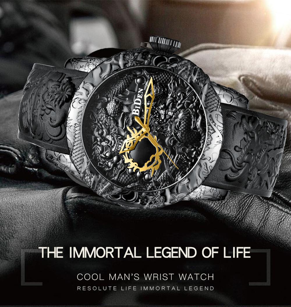 Brand Mens Watches BIDEN Fashion 3D Engraved Dragon Quartz Watch Waterproof Sport Male Clock Relogio Masculino 1