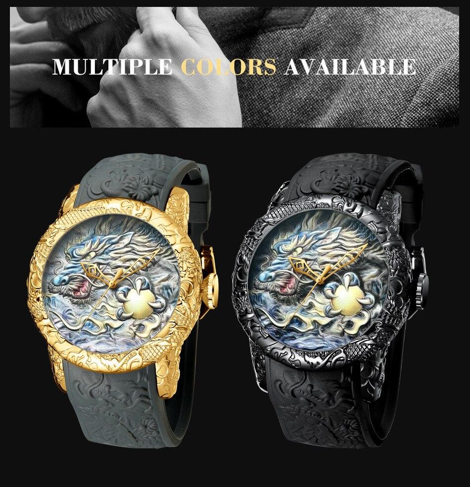 Luxury Fashion Dragon Design Quartz Watch BIDEN Men Silicone Strap Waterproof Wristwatch Sport Male Clock Relogio Masculino 7