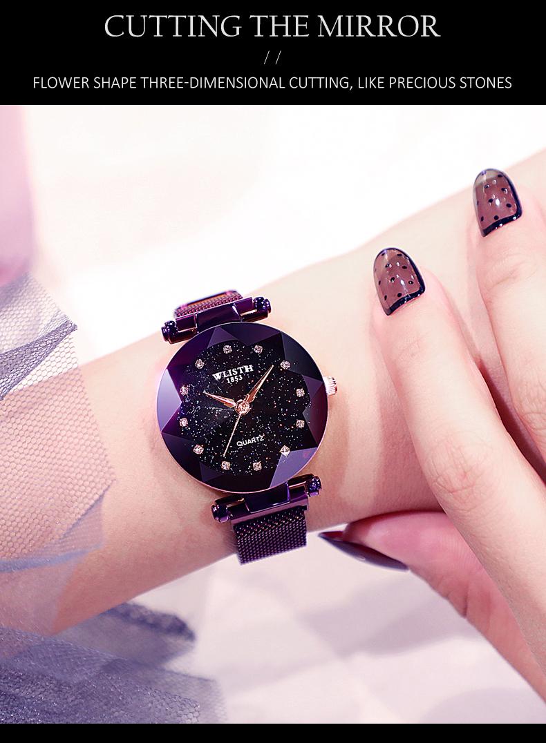 Sparkling Luxury Women Watches Ladies Magnetic Band Clock Fashion Diamond Gypsophila Female Quartz Wristwatch Relogio Feminino 6