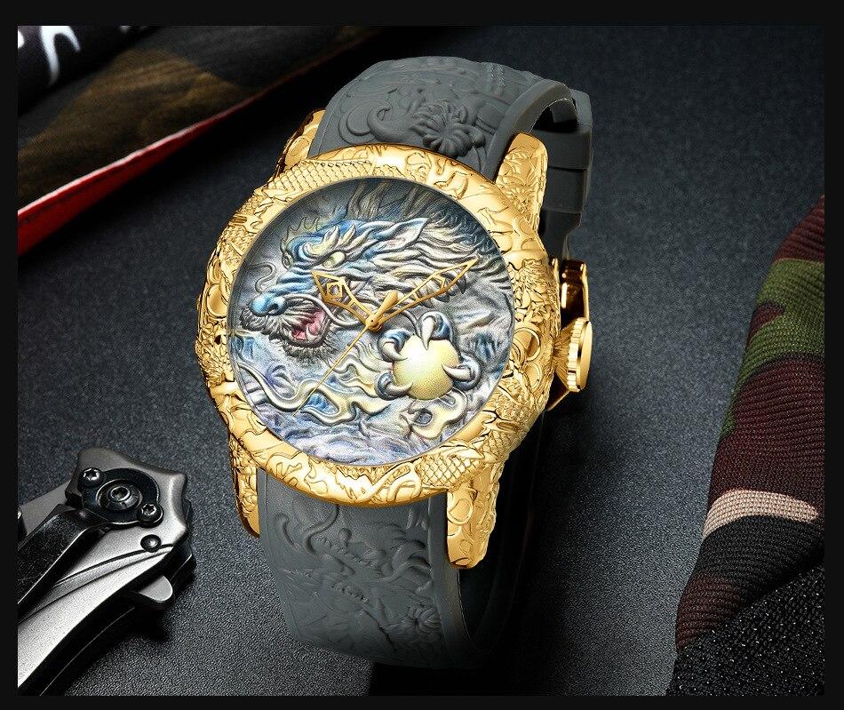 Luxury Fashion Dragon Design Quartz Watch BIDEN Men Silicone Strap Waterproof Wristwatch Sport Male Clock Relogio Masculino 12