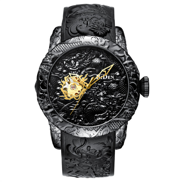 Brand Mens Watches BIDEN Fashion 3D Engraved Dragon Quartz Watch Waterproof Sport Male Clock Relogio Masculino 5