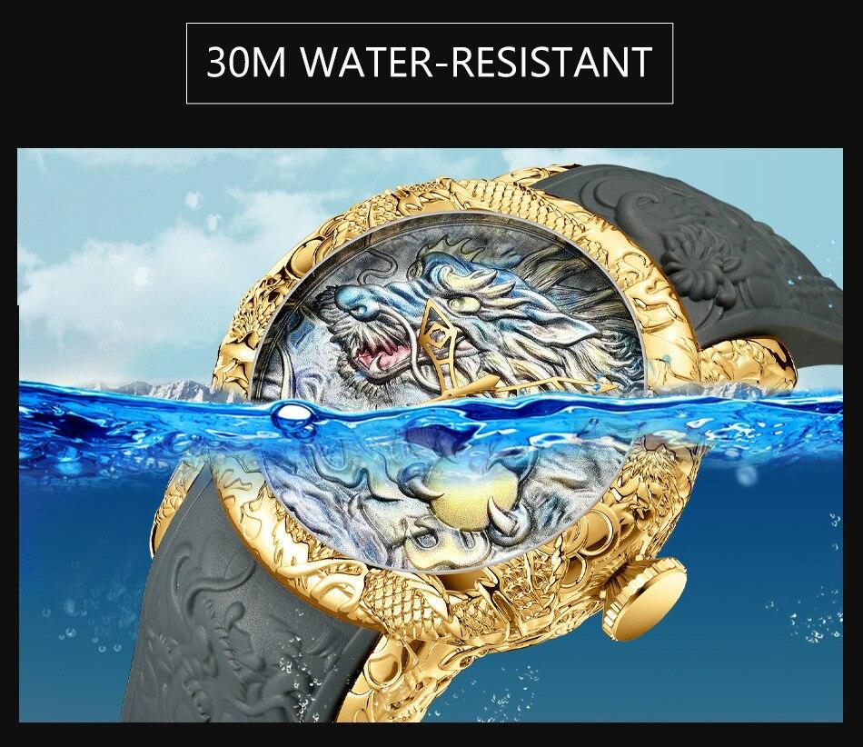 Luxury Fashion Dragon Design Quartz Watch BIDEN Men Silicone Strap Waterproof Wristwatch Sport Male Clock Relogio Masculino 5