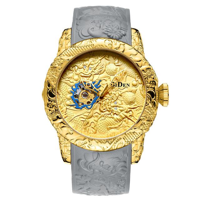 Brand Mens Watches BIDEN Fashion 3D Engraved Dragon Quartz Watch Waterproof Sport Male Clock Relogio Masculino 6