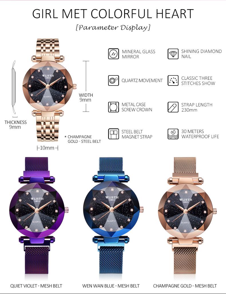 Sparkling Luxury Women Watches Ladies Magnetic Band Clock Fashion Diamond Gypsophila Female Quartz Wristwatch Relogio Feminino 4