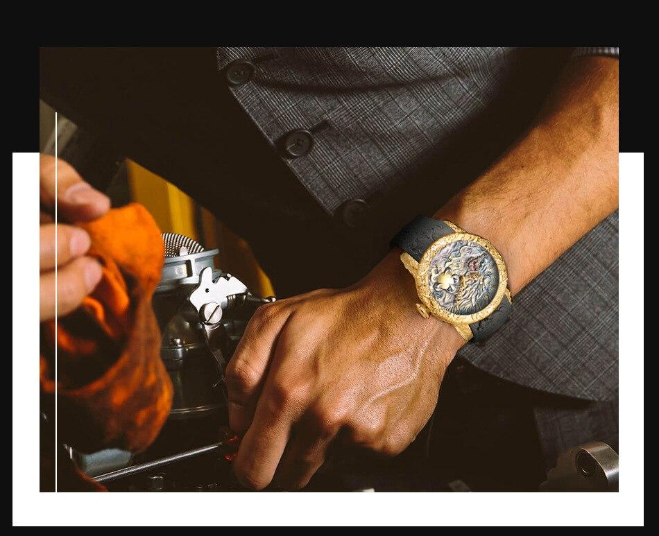 Luxury Fashion Dragon Design Quartz Watch BIDEN Men Silicone Strap Waterproof Wristwatch Sport Male Clock Relogio Masculino 10