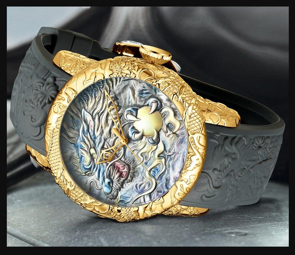 Luxury Fashion Dragon Design Quartz Watch BIDEN Men Silicone Strap Waterproof Wristwatch Sport Male Clock Relogio Masculino 6