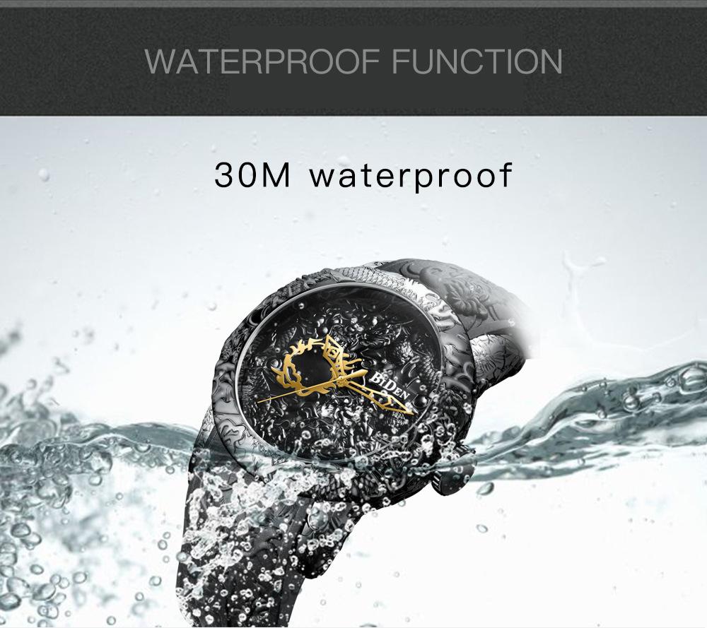 Brand Mens Watches BIDEN Fashion 3D Engraved Dragon Quartz Watch Waterproof Sport Male Clock Relogio Masculino 0