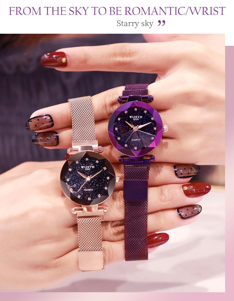 Sparkling Luxury Women Watches Ladies Magnetic Band Clock Fashion Diamond Gypsophila Female Quartz Wristwatch Relogio Feminino 11