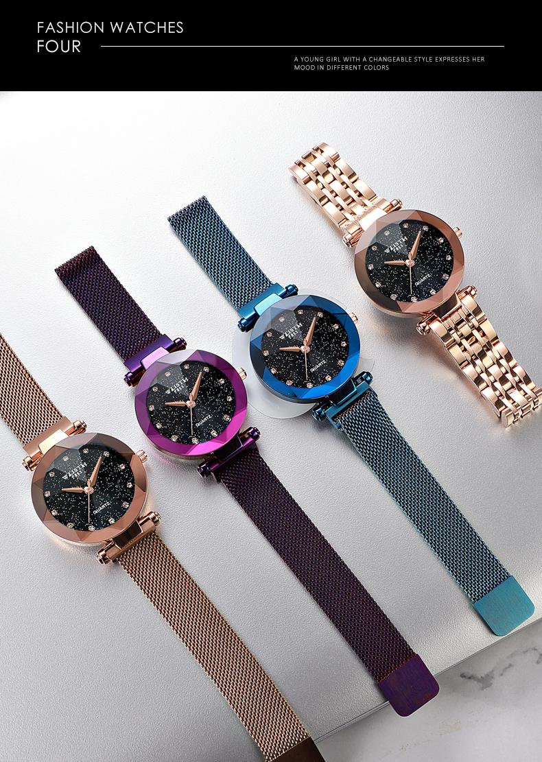 Sparkling Luxury Women Watches Ladies Magnetic Band Clock Fashion Diamond Gypsophila Female Quartz Wristwatch Relogio Feminino 12