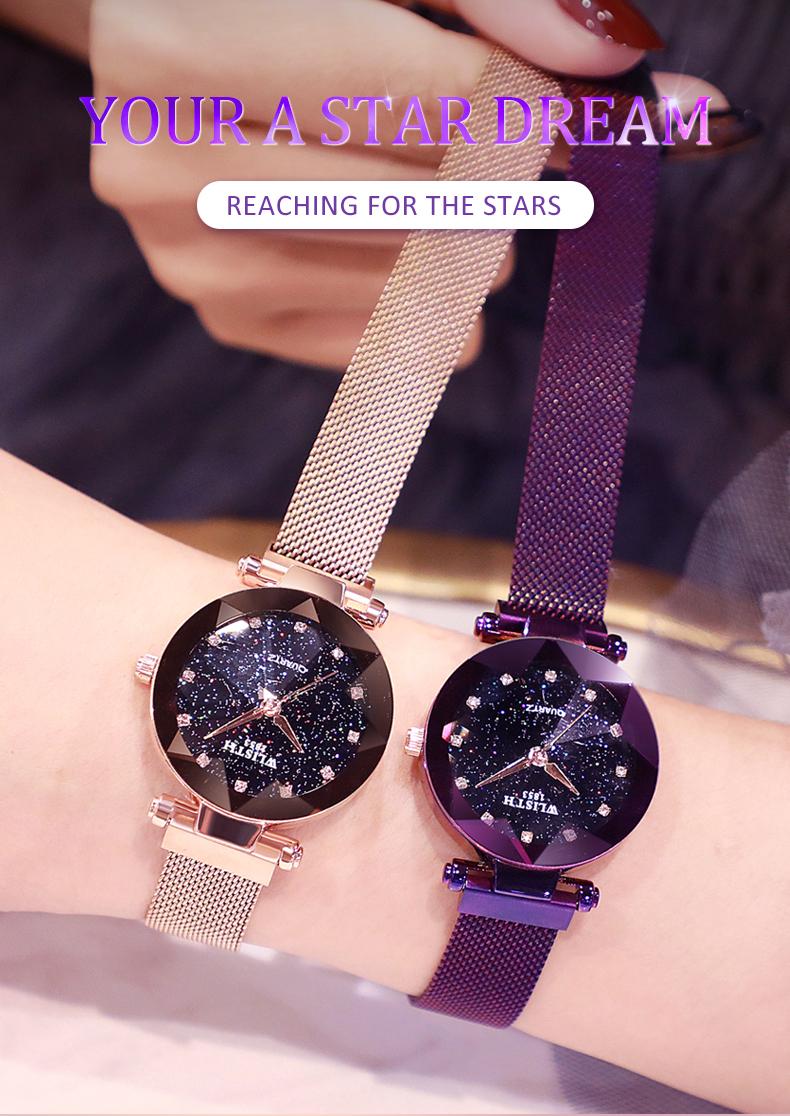 Sparkling Luxury Women Watches Ladies Magnetic Band Clock Fashion Diamond Gypsophila Female Quartz Wristwatch Relogio Feminino 0