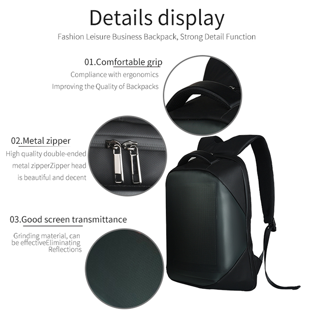 LED Display Screen Backpack for Men Women Smart Laptop Backpacks Waterproof Bag Outdoor Walking Advertising Billboard Wifi Bags 12