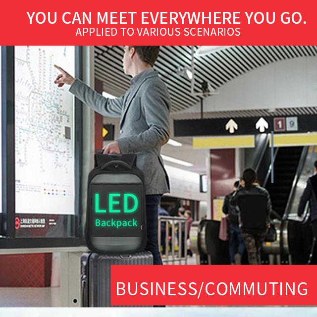 LED Display Screen Backpack for Men Women Smart Laptop Backpacks Waterproof Bag Outdoor Walking Advertising Billboard Wifi Bags 4