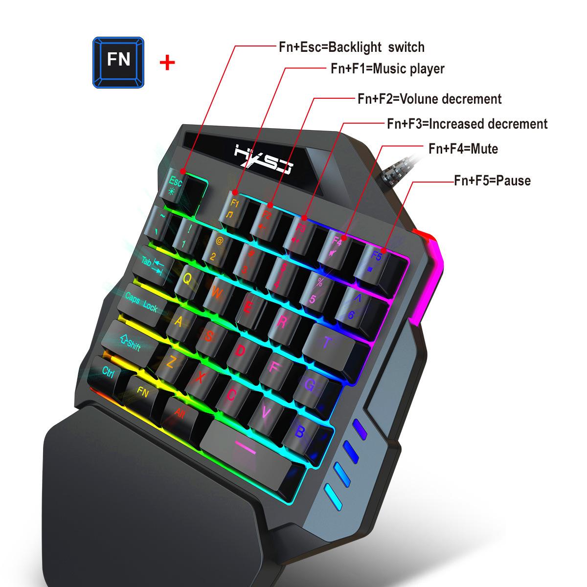 New Ergonomic Multicolor Backlight One-Handed Game Keyboard Mouse Set 35 Keys 5500DPI Gamer Gaming Mouse Keyboard Combos 3