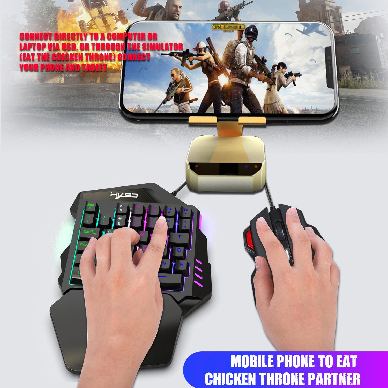 New Ergonomic Multicolor Backlight One-Handed Game Keyboard Mouse Set 35 Keys 5500DPI Gamer Gaming Mouse Keyboard Combos 6