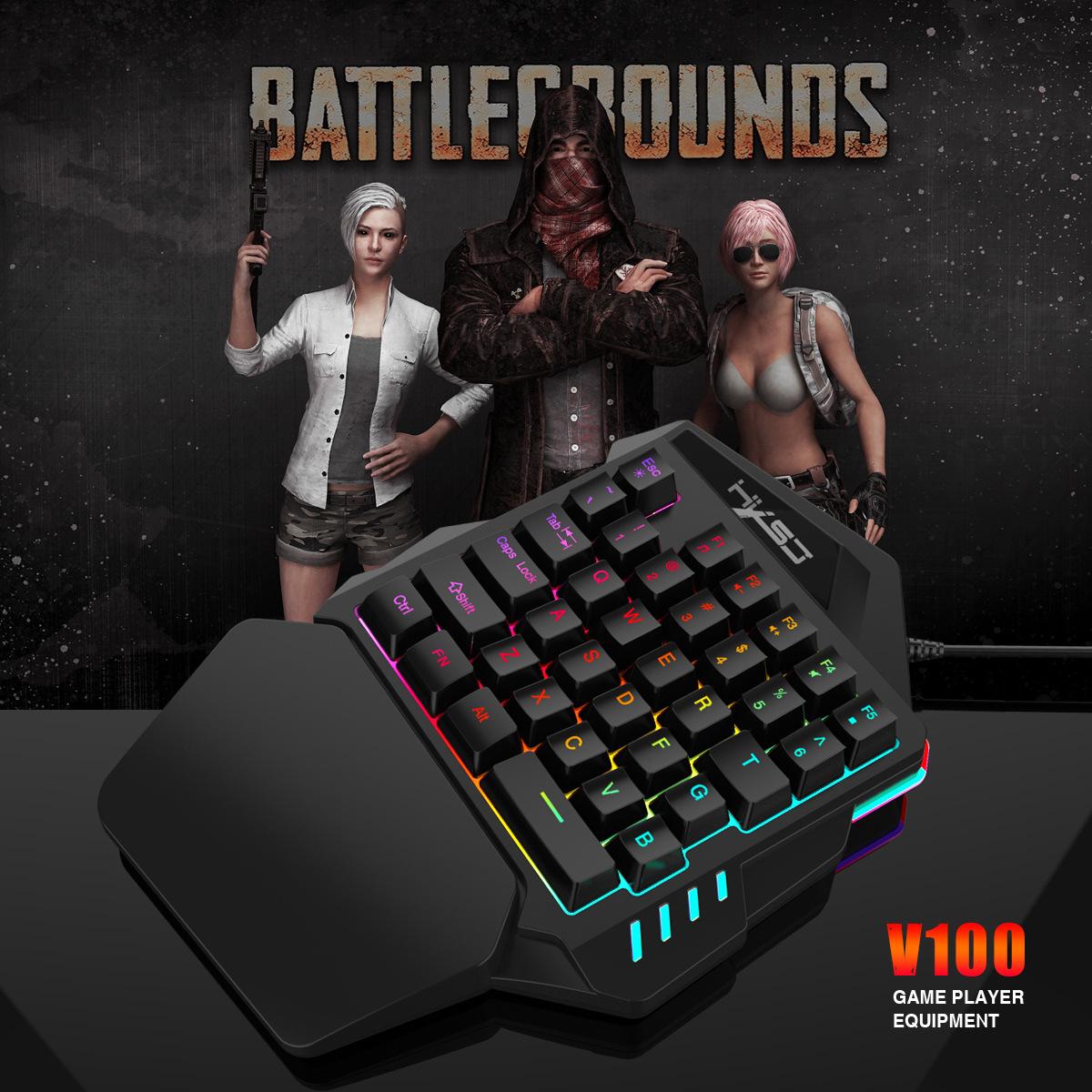 New Ergonomic Multicolor Backlight One-Handed Game Keyboard Mouse Set 35 Keys 5500DPI Gamer Gaming Mouse Keyboard Combos 12
