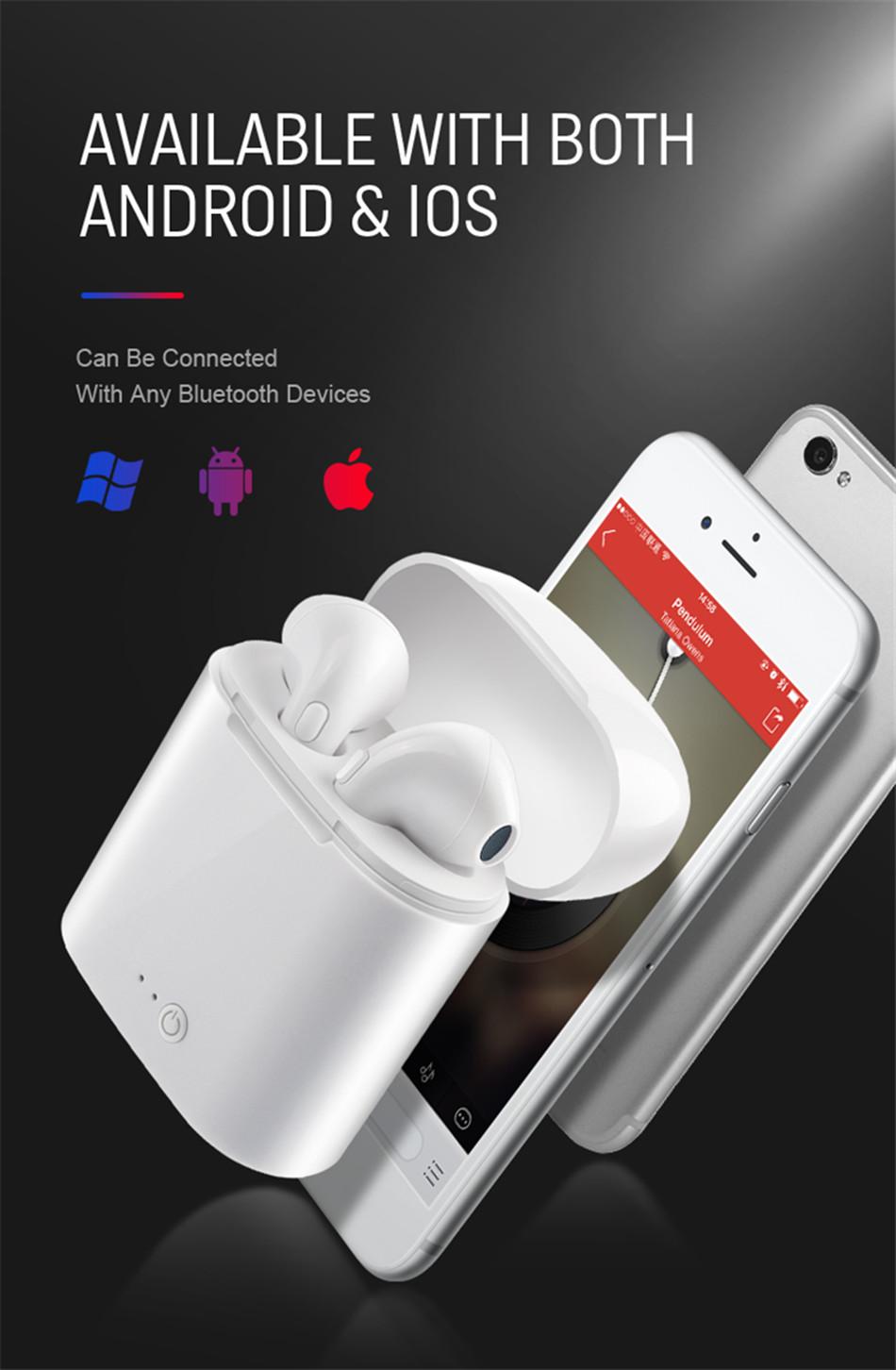 i7s TWS Wireless Earpiece Bluetooth 5.0 Earphones sport Earbuds Headset With Mic For smart Phone Xiaomi Samsung Huawei LG 5