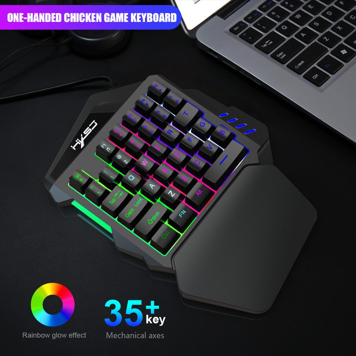 New Ergonomic Multicolor Backlight One-Handed Game Keyboard Mouse Set 35 Keys 5500DPI Gamer Gaming Mouse Keyboard Combos 10