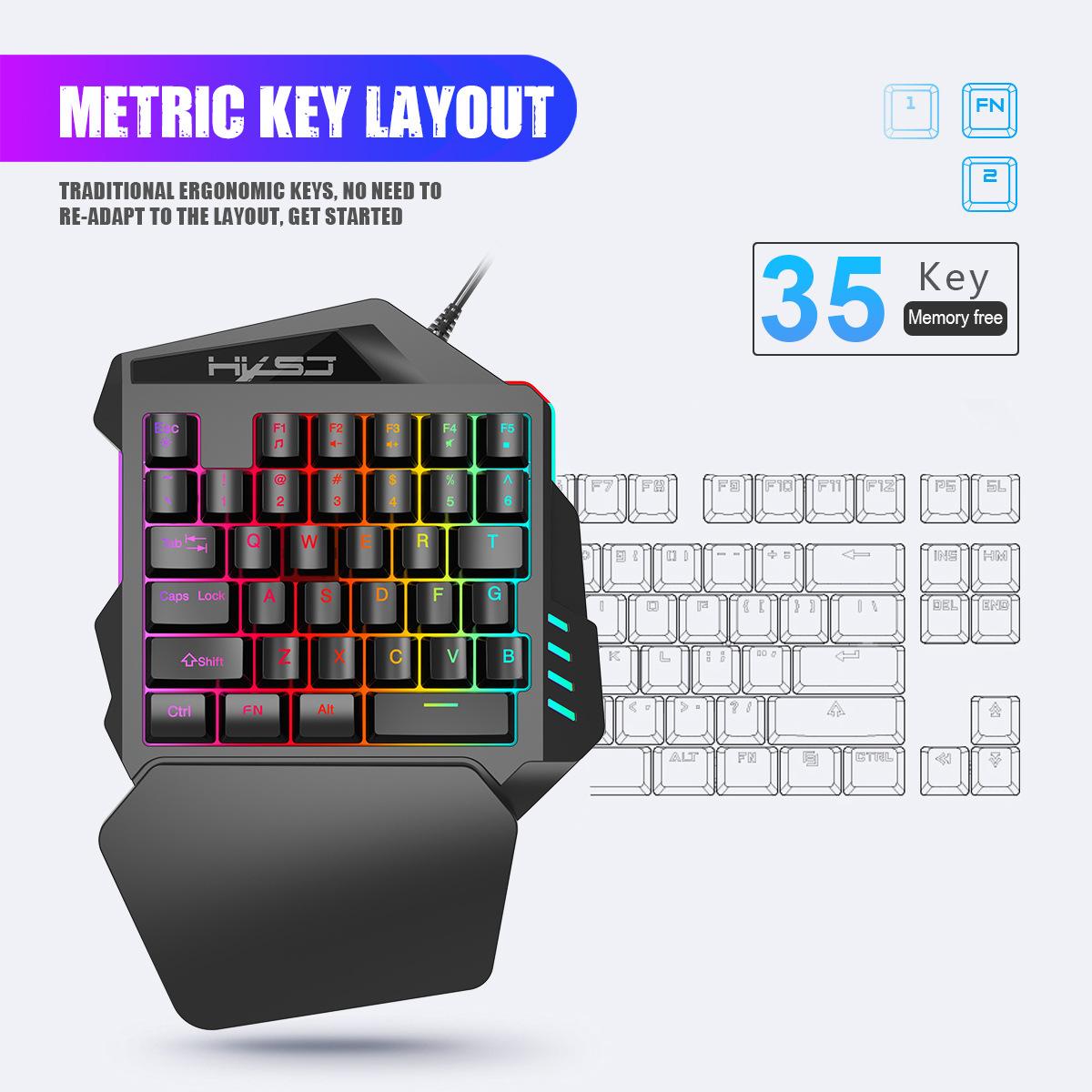 New Ergonomic Multicolor Backlight One-Handed Game Keyboard Mouse Set 35 Keys 5500DPI Gamer Gaming Mouse Keyboard Combos 8