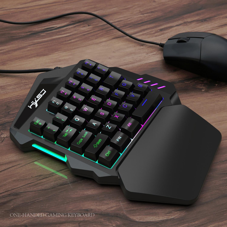 New Ergonomic Multicolor Backlight One-Handed Game Keyboard Mouse Set 35 Keys 5500DPI Gamer Gaming Mouse Keyboard Combos 15