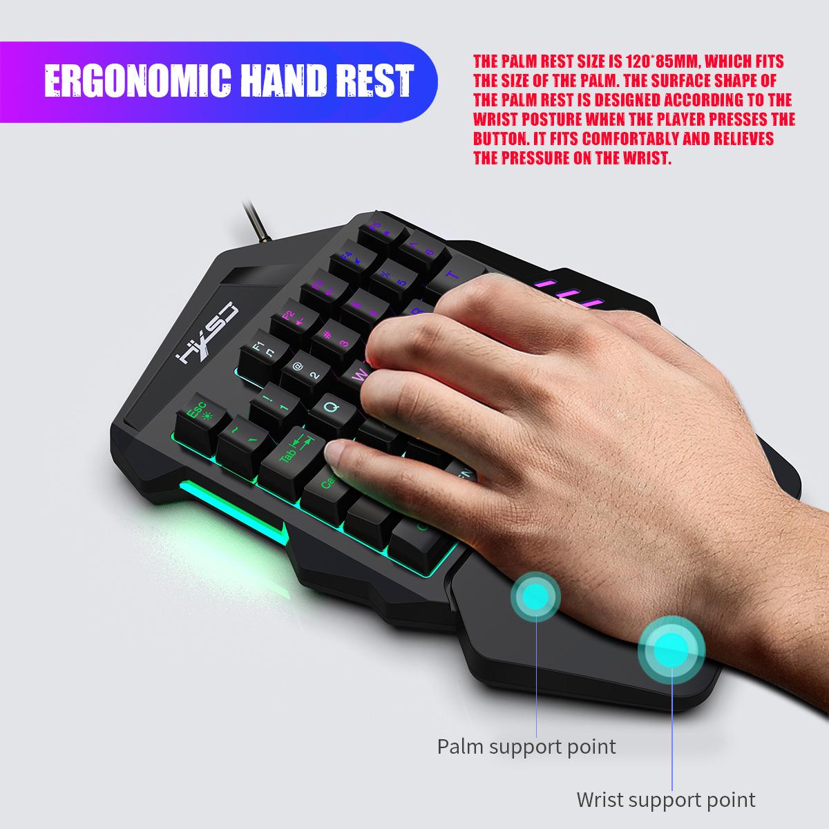 New Ergonomic Multicolor Backlight One-Handed Game Keyboard Mouse Set 35 Keys 5500DPI Gamer Gaming Mouse Keyboard Combos 7