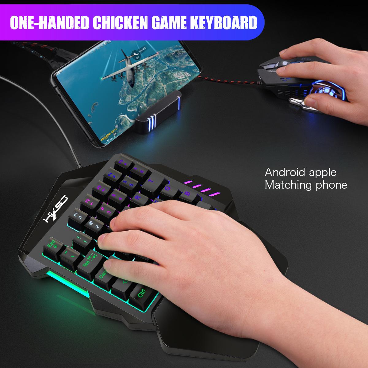 New Ergonomic Multicolor Backlight One-Handed Game Keyboard Mouse Set 35 Keys 5500DPI Gamer Gaming Mouse Keyboard Combos 9