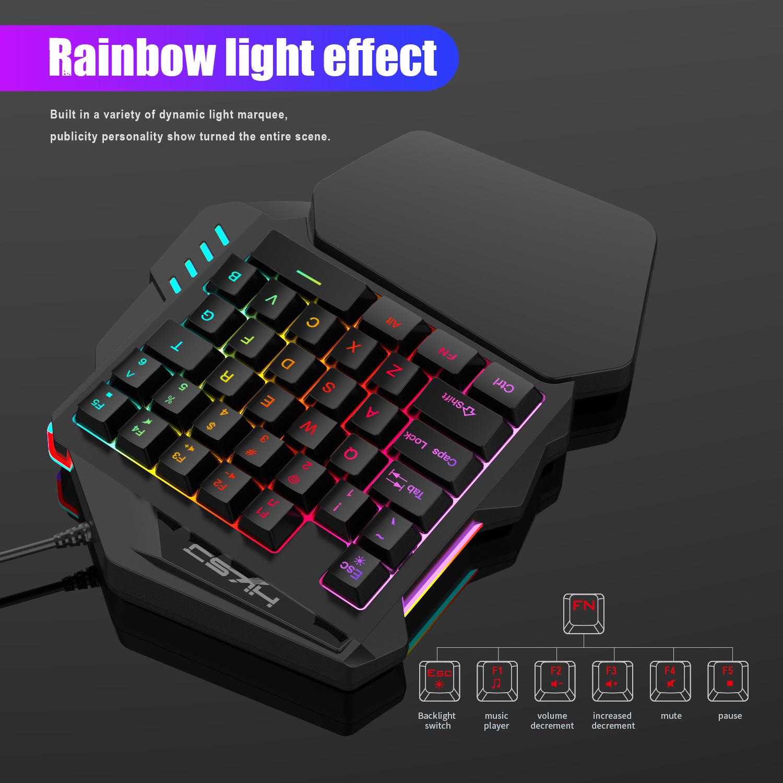 New Ergonomic Multicolor Backlight One-Handed Game Keyboard Mouse Set 35 Keys 5500DPI Gamer Gaming Mouse Keyboard Combos 11