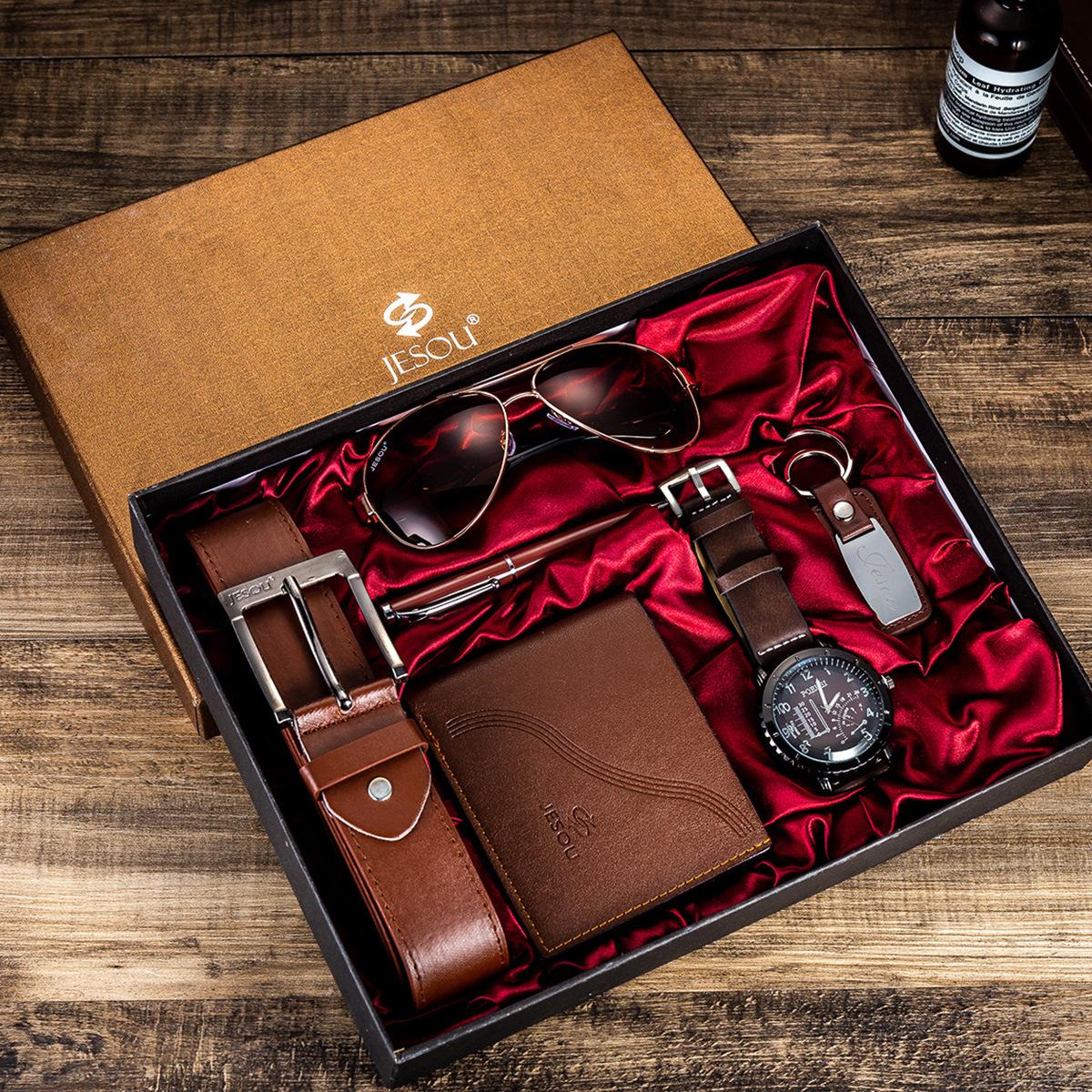 Watches for men rolex_watch mens gifts 6pcs/set boutique gift set glasses + belt + wallet + key chain + watch + pen Alloy 0