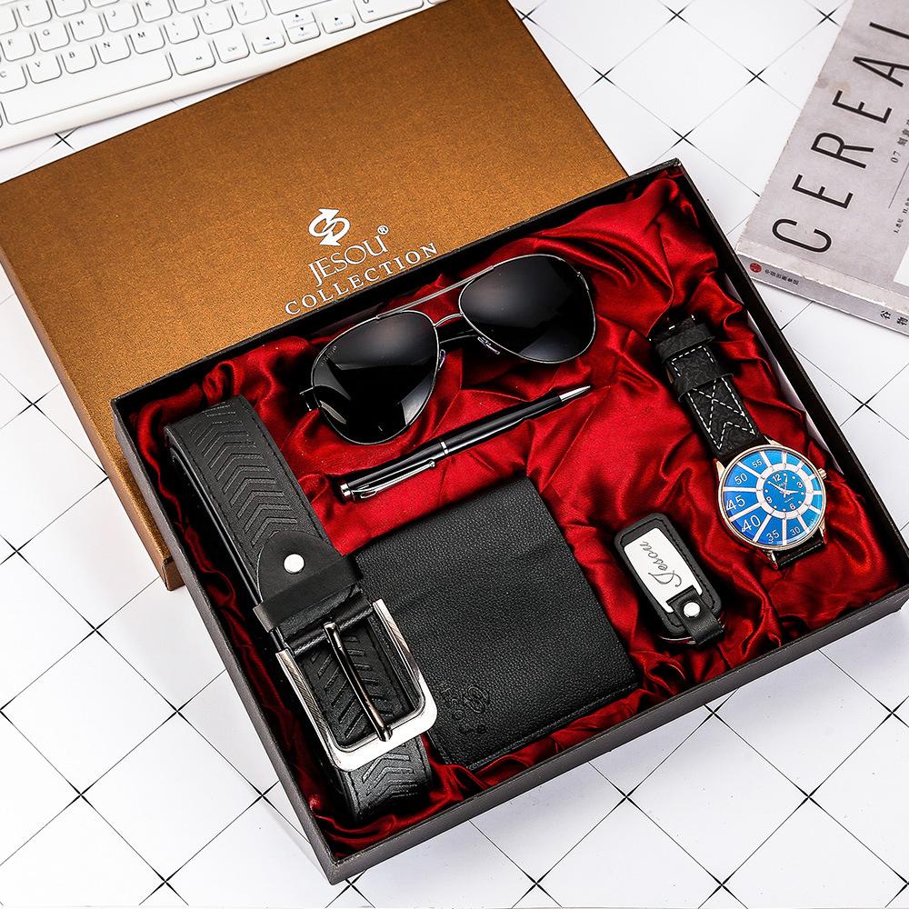Watches for men rolex_watch mens gifts 6pcs/set boutique gift set glasses + belt + wallet + key chain + watch + pen Alloy 12