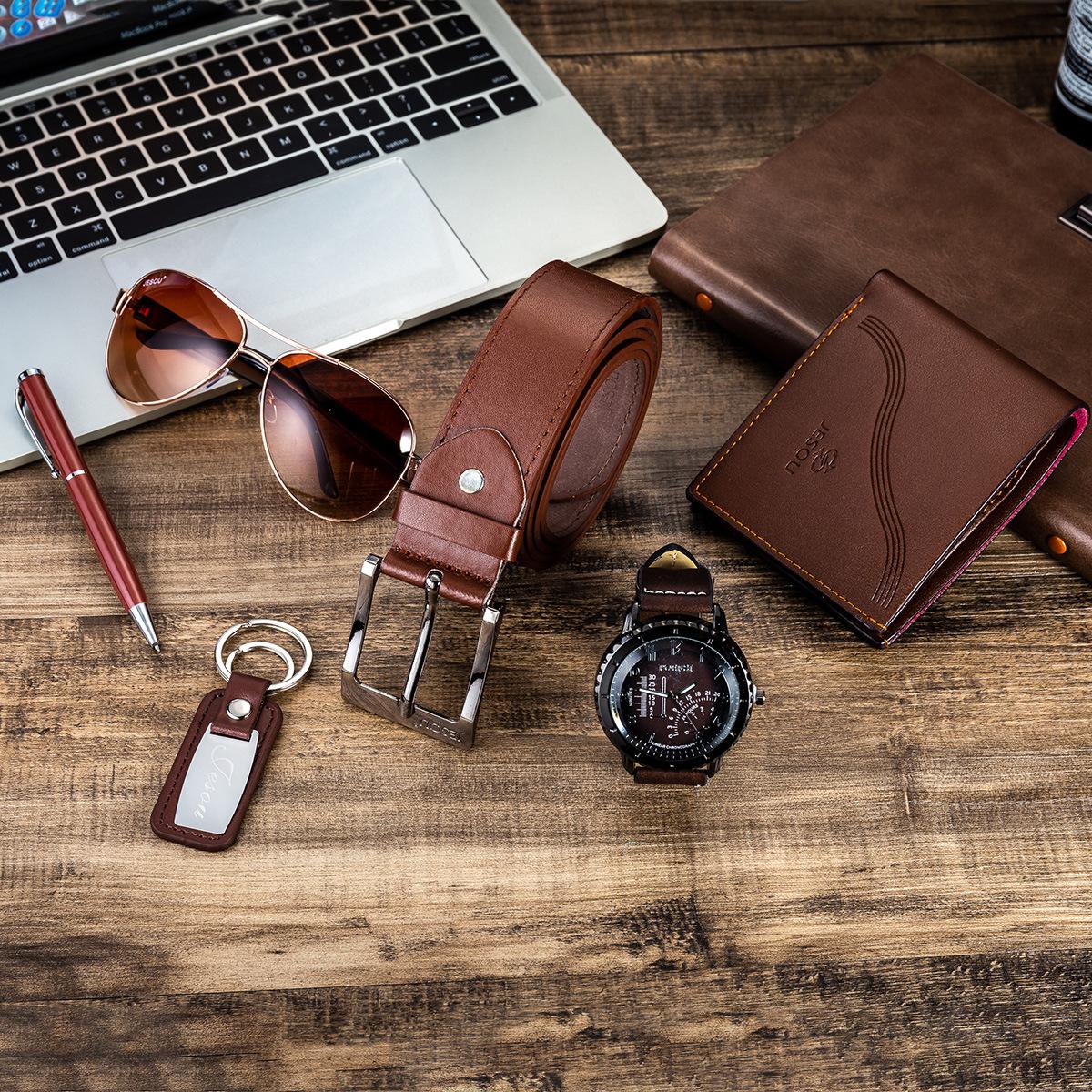 Watches for men rolex_watch mens gifts 6pcs/set boutique gift set glasses + belt + wallet + key chain + watch + pen Alloy 3