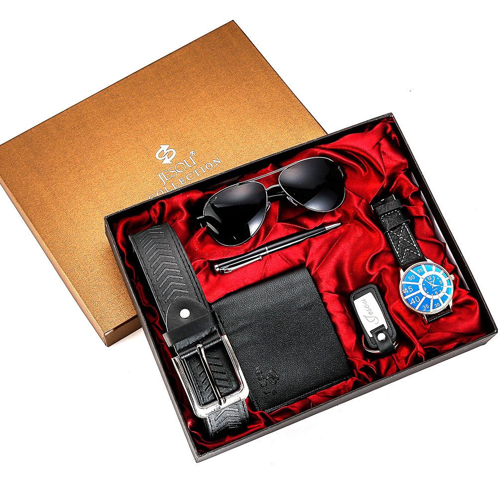 Watches for men rolex_watch mens gifts 6pcs/set boutique gift set glasses + belt + wallet + key chain + watch + pen Alloy 16