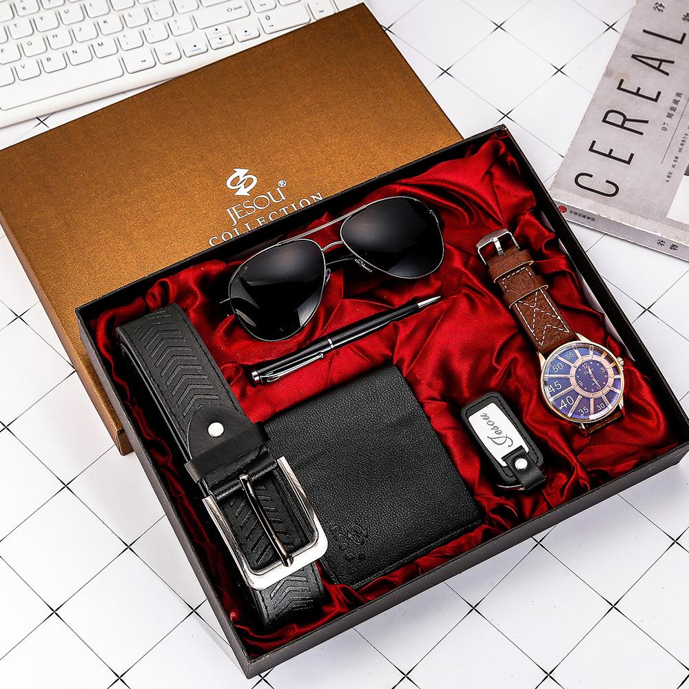 Watches for men rolex_watch mens gifts 6pcs/set boutique gift set glasses + belt + wallet + key chain + watch + pen Alloy 13