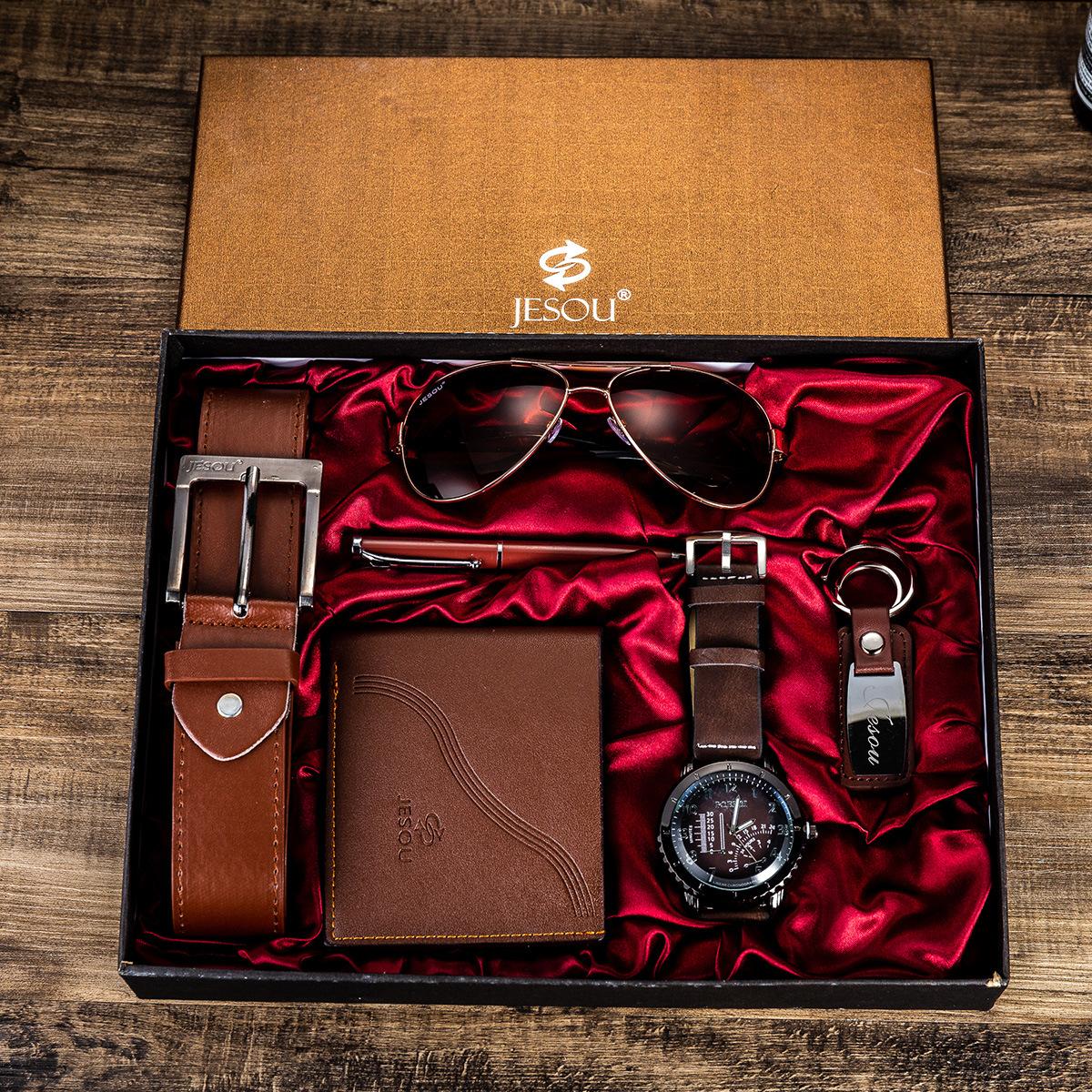 Watches for men rolex_watch mens gifts 6pcs/set boutique gift set glasses + belt + wallet + key chain + watch + pen Alloy 1