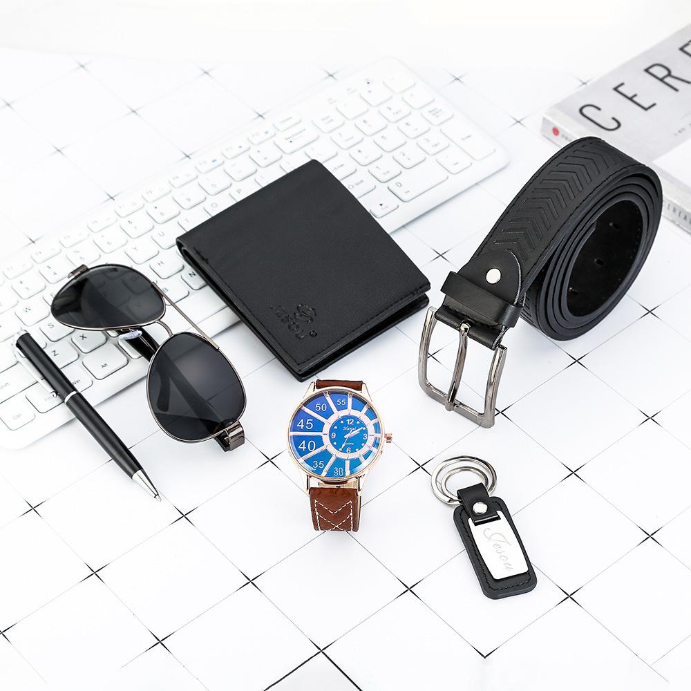 Watches for men rolex_watch mens gifts 6pcs/set boutique gift set glasses + belt + wallet + key chain + watch + pen Alloy 14
