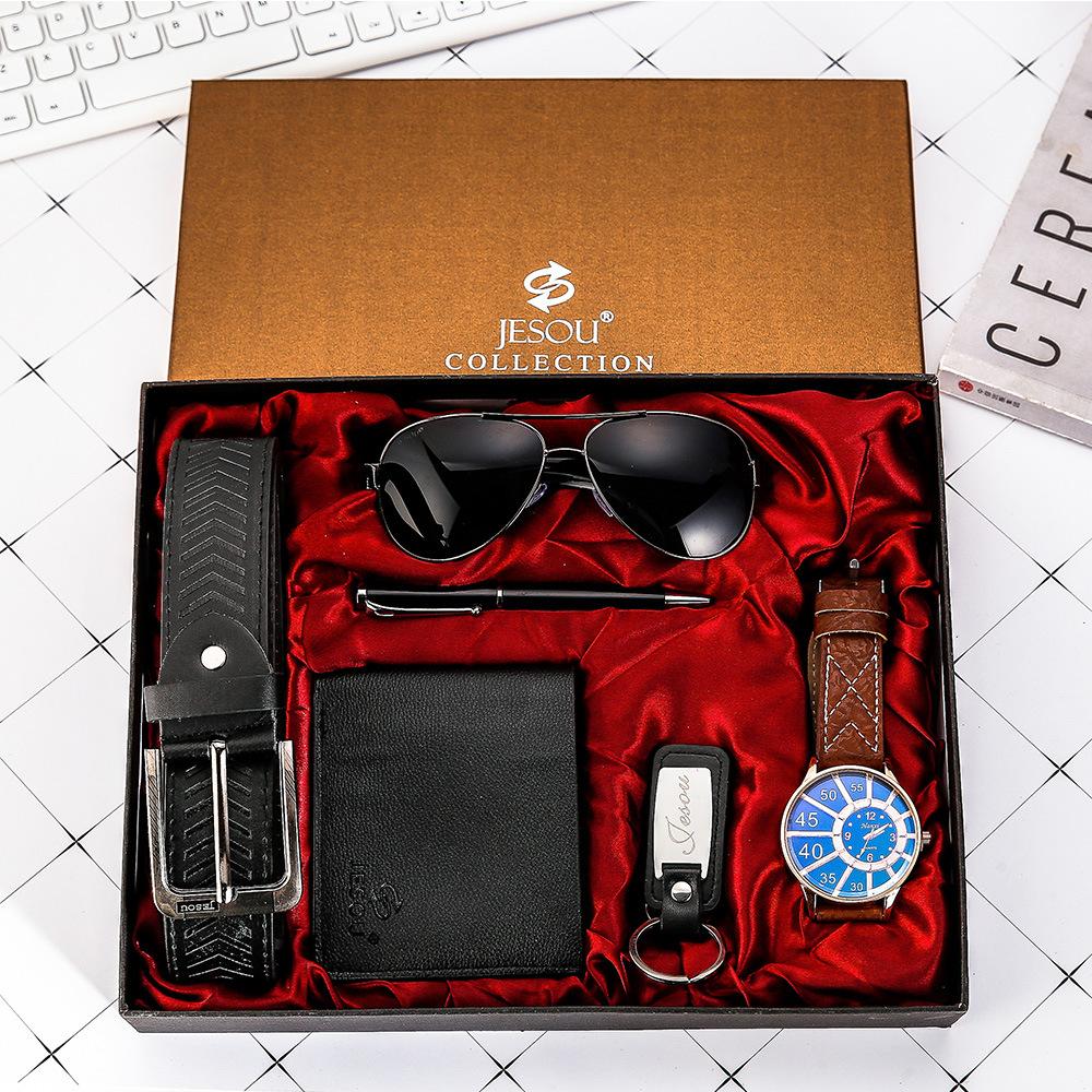 Watches for men rolex_watch mens gifts 6pcs/set boutique gift set glasses + belt + wallet + key chain + watch + pen Alloy 11