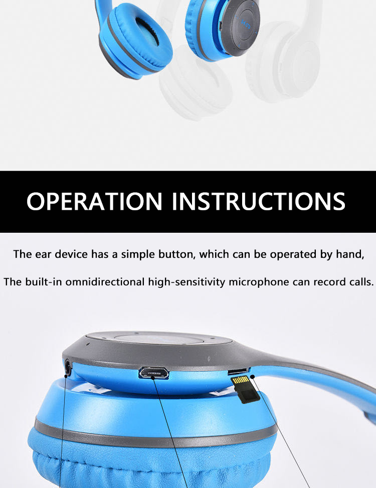 P47 9D HIFI Stereo Foldable Wireless Headphones Bluetooth Headset with mic support SD card For mobile xiaomi iphone sumsamg tablet 12