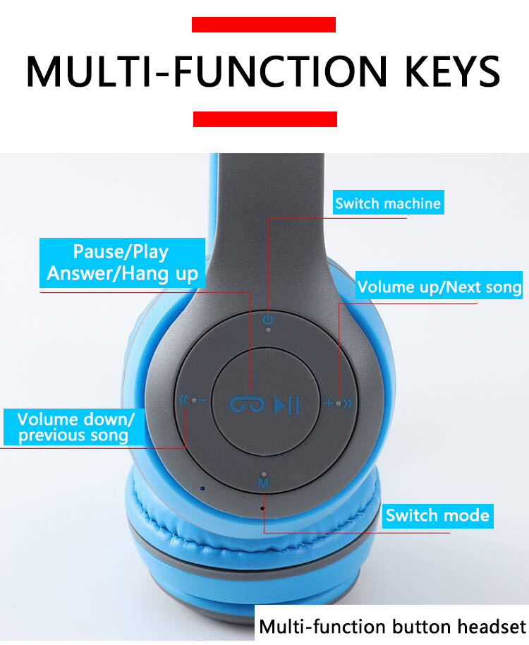 P47 9D HIFI Stereo Foldable Wireless Headphones Bluetooth Headset with mic support SD card For mobile xiaomi iphone sumsamg tablet 7