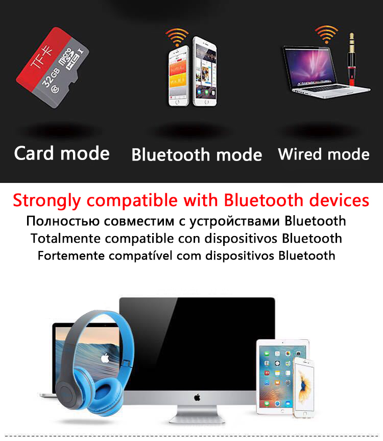 P47 9D HIFI Stereo Foldable Wireless Headphones Bluetooth Headset with mic support SD card For mobile xiaomi iphone sumsamg tablet 14