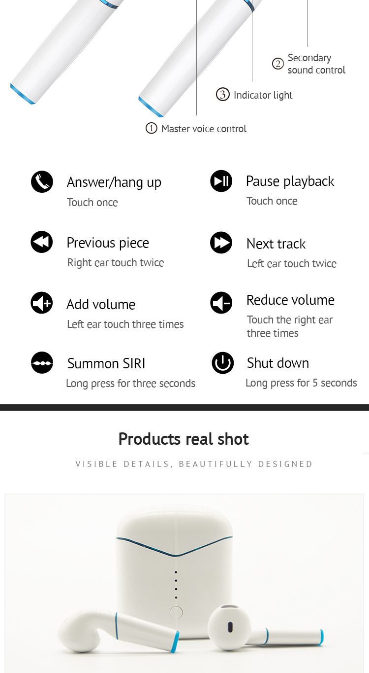 P20 TWS Original Bluetooth V5.0 Wireless Earphones Window Wireless Charge 6D Stereo Sound Noise Cancelling for all smart phones 5