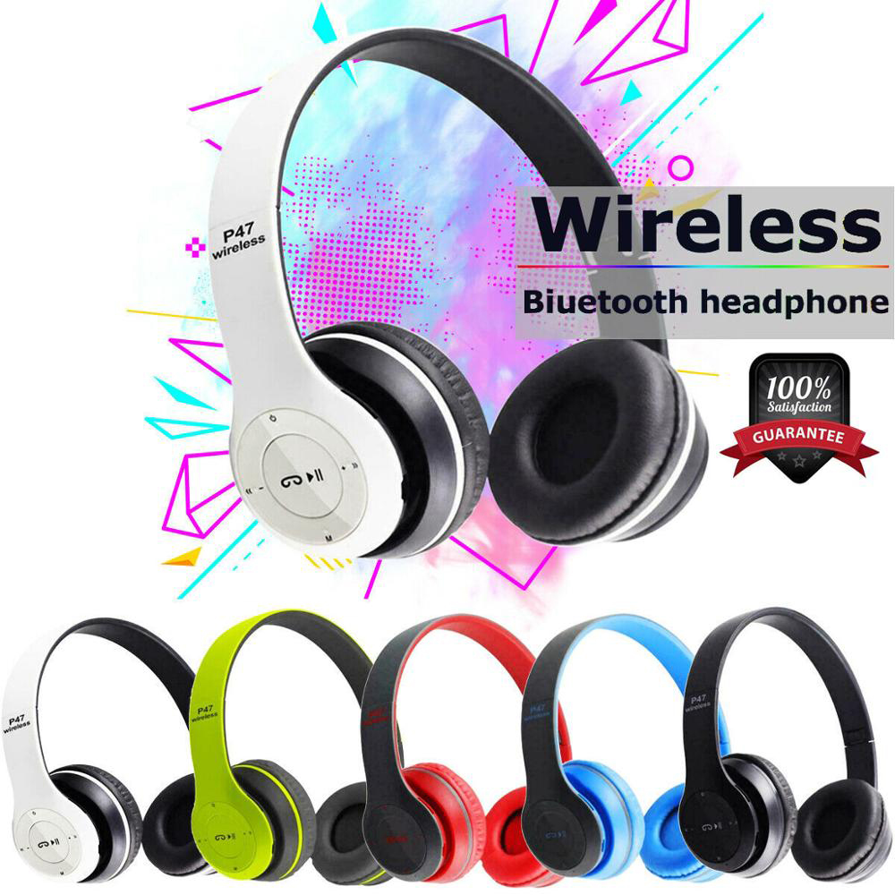 P47 9D HIFI Stereo Foldable Wireless Headphones Bluetooth Headset with mic support SD card For mobile xiaomi iphone sumsamg tablet 0