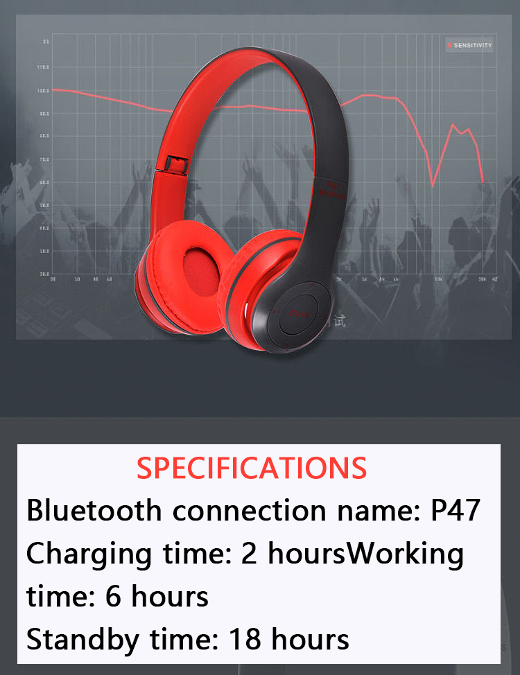 P47 9D HIFI Stereo Foldable Wireless Headphones Bluetooth Headset with mic support SD card For mobile xiaomi iphone sumsamg tablet 10
