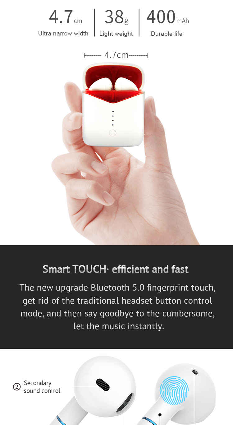 P20 TWS Original Bluetooth V5.0 Wireless Earphones Window Wireless Charge 6D Stereo Sound Noise Cancelling for all smart phones 4