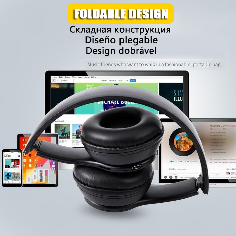 P47 9D HIFI Stereo Foldable Wireless Headphones Bluetooth Headset with mic support SD card For mobile xiaomi iphone sumsamg tablet 3