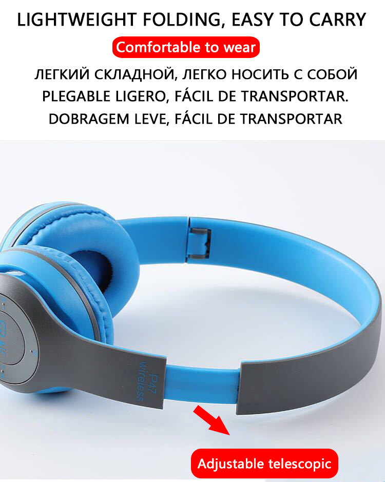 P47 9D HIFI Stereo Foldable Wireless Headphones Bluetooth Headset with mic support SD card For mobile xiaomi iphone sumsamg tablet 5