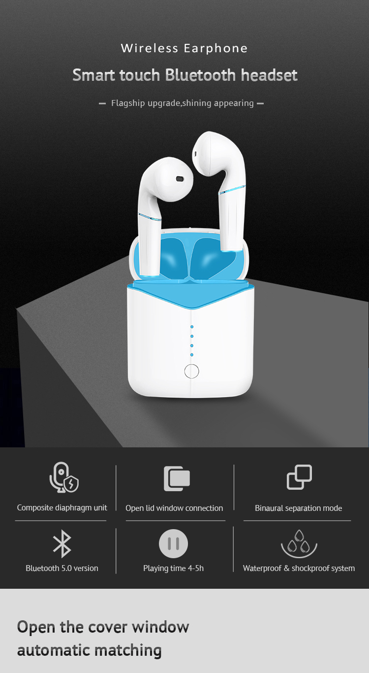 P20 TWS Original Bluetooth V5.0 Wireless Earphones Window Wireless Charge 6D Stereo Sound Noise Cancelling for all smart phones 0