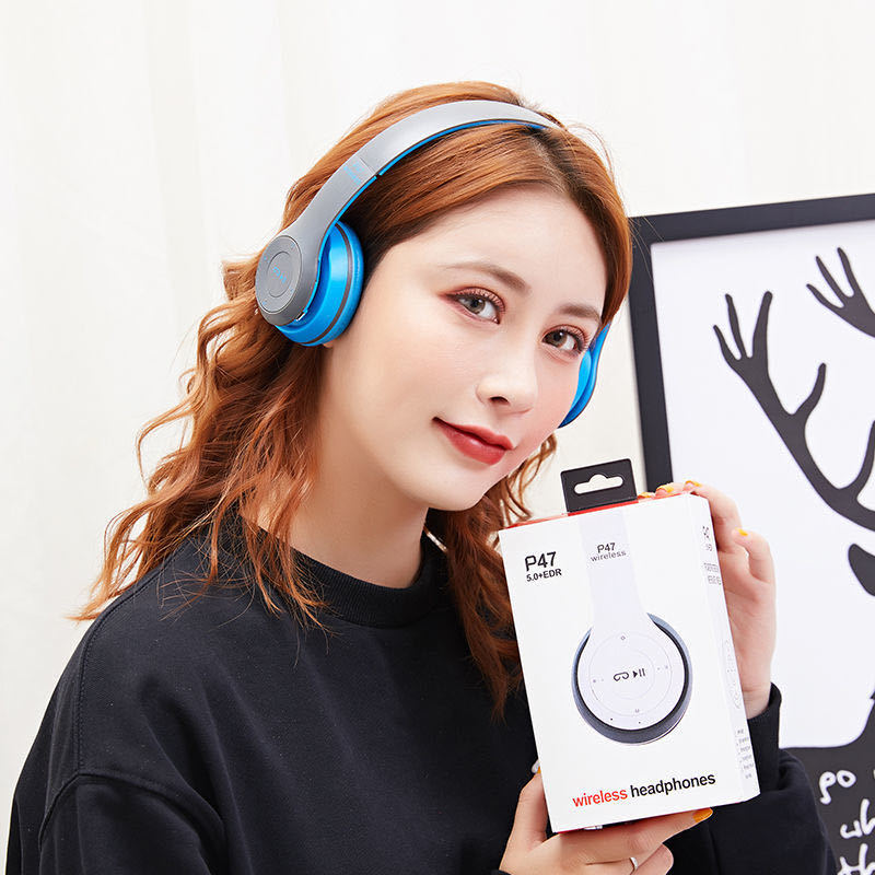 P47 9D HIFI Stereo Foldable Wireless Headphones Bluetooth Headset with mic support SD card For mobile xiaomi iphone sumsamg tablet 15