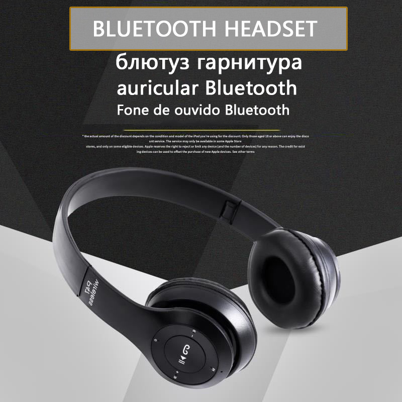 P47 9D HIFI Stereo Foldable Wireless Headphones Bluetooth Headset with mic support SD card For mobile xiaomi iphone sumsamg tablet 2