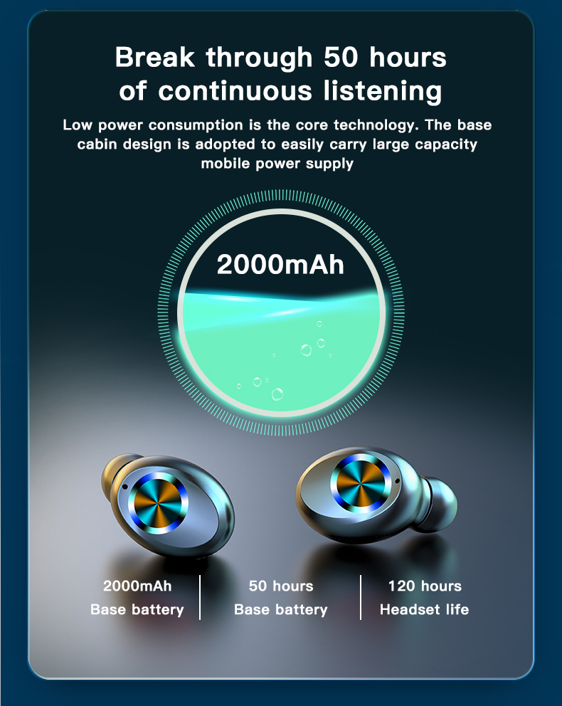Wireless TWS Bluetooth 5.0 Earbuds Headphone Waterproof 9D Sports Earphones LED Power Display Button Control Headset 2000mAh 11