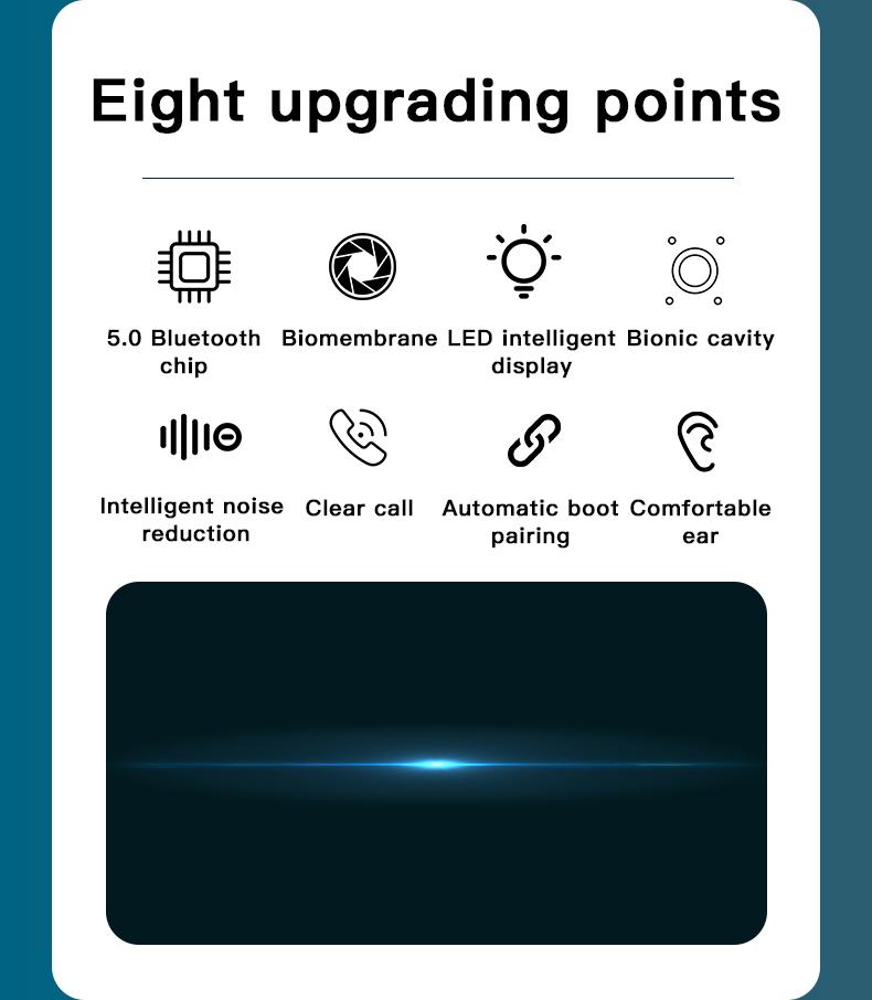 Wireless TWS Bluetooth 5.0 Earbuds Headphone Waterproof 9D Sports Earphones LED Power Display Button Control Headset 2000mAh 1