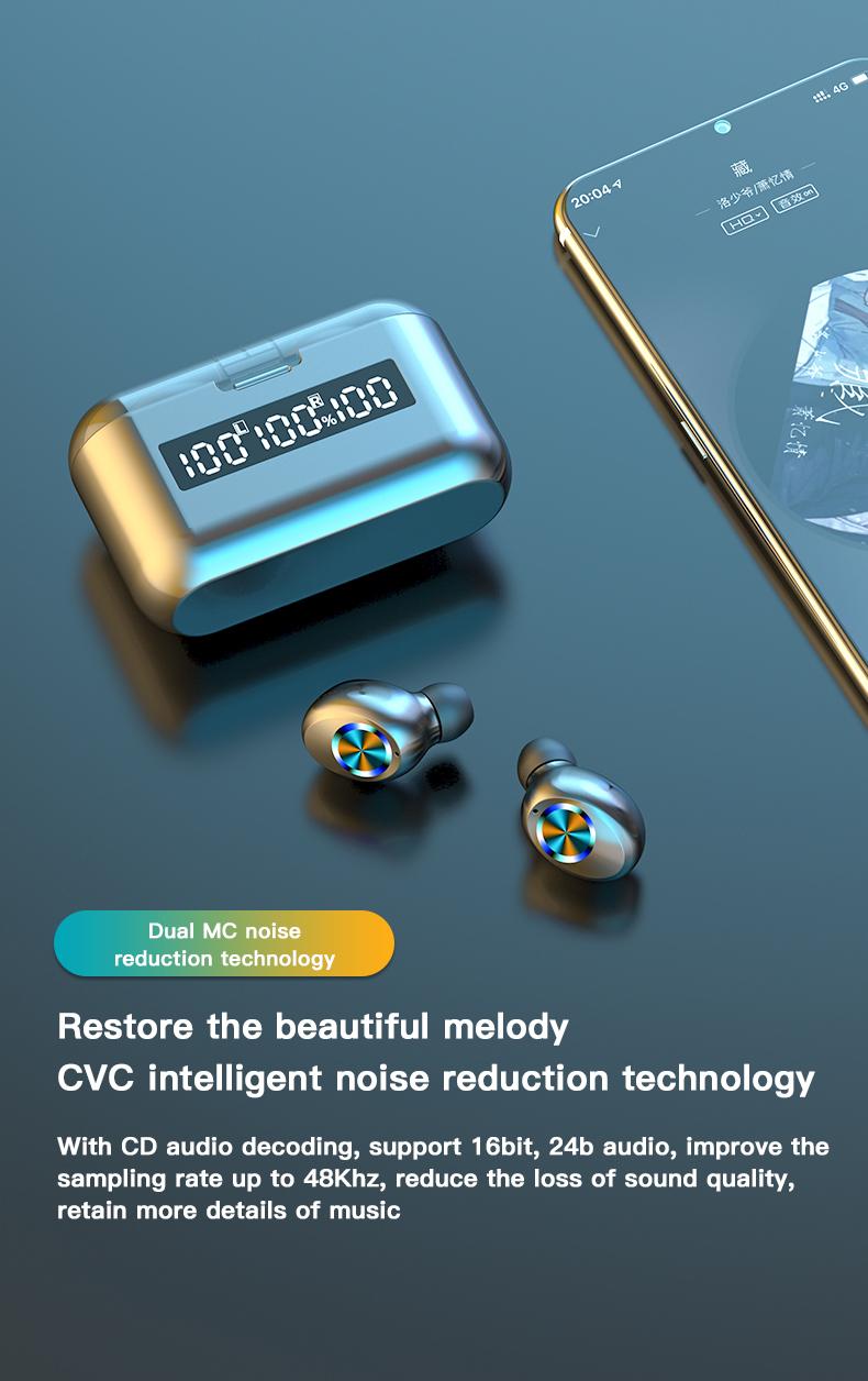 Wireless TWS Bluetooth 5.0 Earbuds Headphone Waterproof 9D Sports Earphones LED Power Display Button Control Headset 2000mAh 3